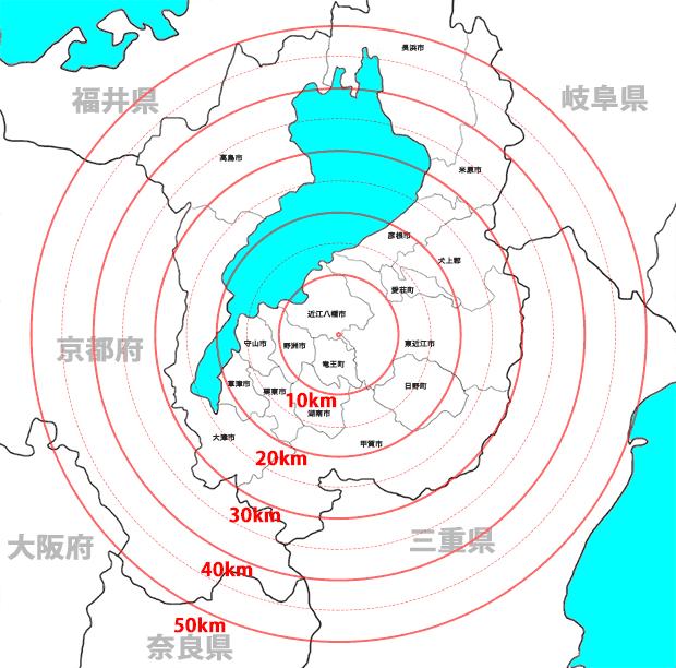 レンタル地域の距離マップ